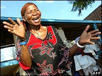 Kalahari bushman celebrates