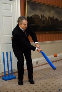 Tony Blair playing cricket in Downing Street (Image: PA)