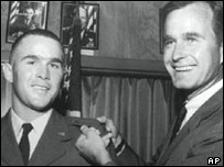 George Bush senior with his son in 1968