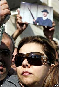 Saddam Hussein's daughter Raghad, protesting in Jordan