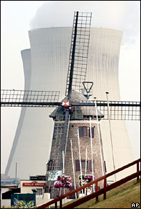 A windmill cafe seen in front of the cooling towers of a nuclear power plant in Doel, Belgium (file picture)