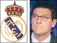 Real Madrid badge and former boss Fabio Capello