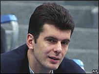 Russian billionaire Mikhail Prokhorov (Oct 2003 file pic)