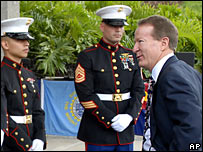 US Ambassador to Venezuela, William Brownfield, talks to Marines on his last day in Caracas