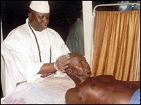 President Jammeh checking the state of one of his patients (Photo from: www.statehouse.gm)