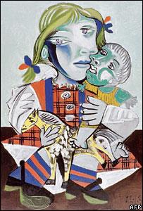 Maya con una muñeca, uno de los cuadros recuperados