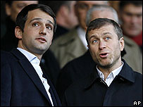 Roman Abramovich (right) with fellow tycoon Arkady Gaidamak