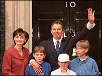 The Blairs enter Downing Street in 1997