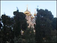 La iglesia ortodoxa en el Monte de los Olivos.