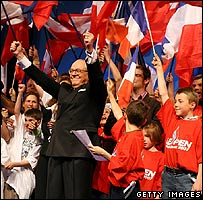 French National Front leader Jean-Marie Le Pen at rally in Paris, 15 Apr 07