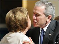Chancellor Angela Merkel and President George Bush
