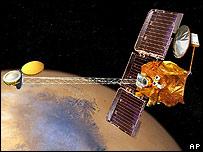 La nave Odyssey está en órbita en torno a Marte.
