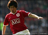 Ji-Sung Park in action for Manchester United