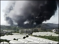 Smoke coming from the Nahr al-Bared refugee camp