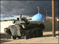 An armoured vehicle in a mock Iraqi town at a US military training facility (picture courtesy of the US military)