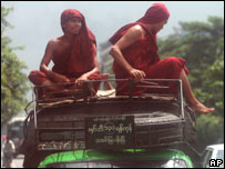 Monks on top of a bus in Rangoon, 02/10