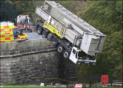 Lorry on bridge. Picture Ralph Cruickshank