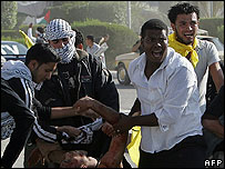 Injured demonstrator at Arafat rally