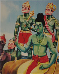 Painting of Lord Ram and Hanuman