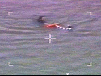 Police helicopter footage of the rescue