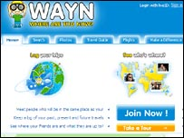 Screen shot of WAYN site