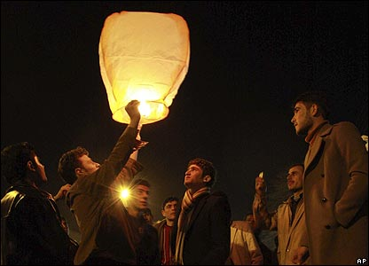 AP - Iraqi Kurds in Sulaimaniya released a fire lantern during their New Year celebrations.