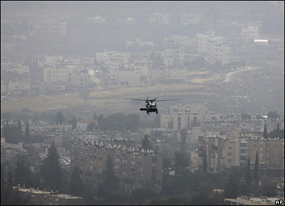 Helicopter carrying Mr Bush flies over Jerusalem on Wednesday 9 January 2008
