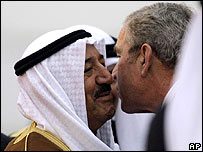 Sheikh Sabah of Kuwait greets George W Bush on his arrival in Kuwait
