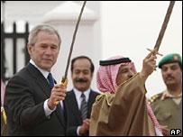 George W Bush with Bahrain's king, Hamad bin Isa Al-Khalifa. 12-1-08