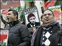 Protesters from different Pakistani opposition parties demonstrate in Brussels on Sunday