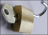 A padlock and key