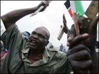 A follower of opposition leader Raila Odinga in the Kibera slum of Nairobi