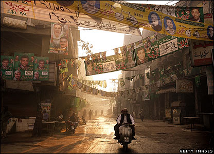 Election flags in Lahore old city, Pakistan