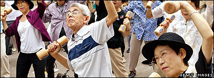 Older people exercising in Japan