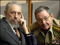 Fidel Castro and Raul Castro (1 July 2004)