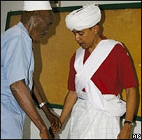 Barack Obama in traditional Somali dress