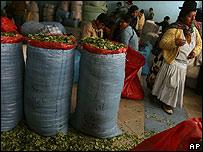 Hojas de coca en un mercado de Bolivia.