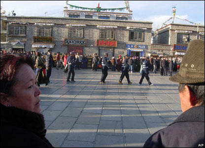 Police in Jokhang Square in Lhasa