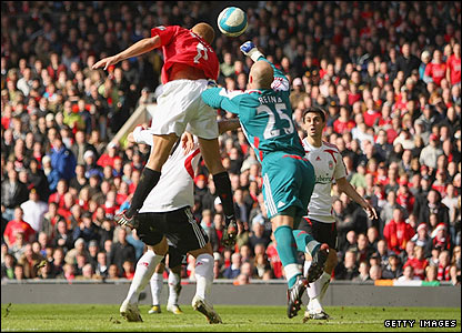 Wes Brown beats the stranded Reina to the ball to head United ahead