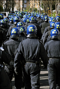 Hundreds of police in riot gear
