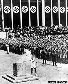 The Olympic torch in the Lustgarten, Berlin, 1 August 1936