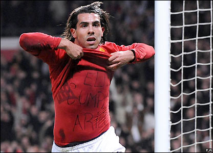 Tevez celebrates his goal