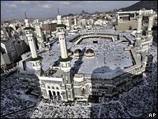 File photo of Muslim pilgrims attending prayers at the Grand Mosque in Mecca, Saudi Arabia.