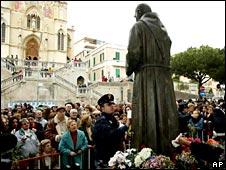 Statue of Padre Pio in Messina, Sicily in March 2002