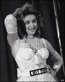 Madonna in the Like A Virgin days, nifty corset!