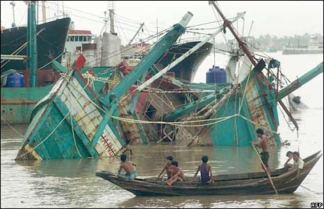 Destroyed fisherman boats lay off Rangoon on 4 May 2008