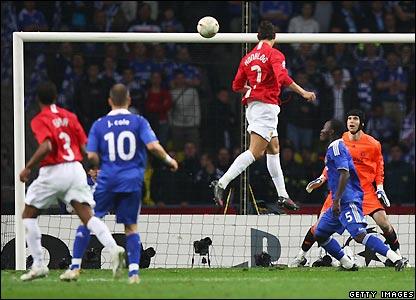 Ronaldo sends the ball goalwards
