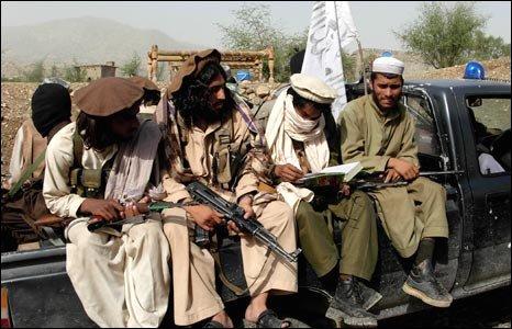 Taleban militants in Pakistan's Waziristan district