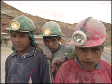 Child miners chewing coca leaves in Potosi, Bolivia