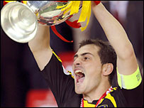 Iker Casillas holds aloft the Henri Delaunay Trophy